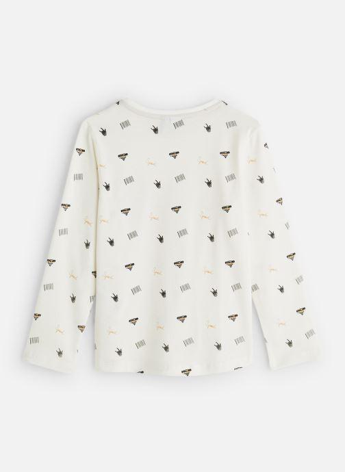 Vêtements 3 Pommes T-Shirt Blanc Cassé Manches Longues Blanc vue bas / vue portée sac