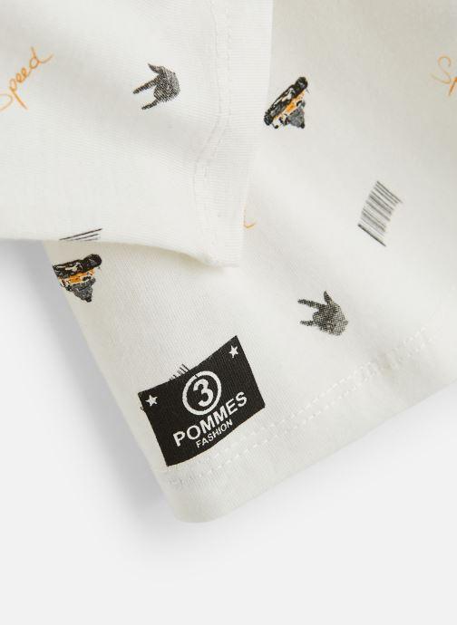 Vêtements 3 Pommes T-Shirt Blanc Cassé Manches Longues Blanc vue portées chaussures