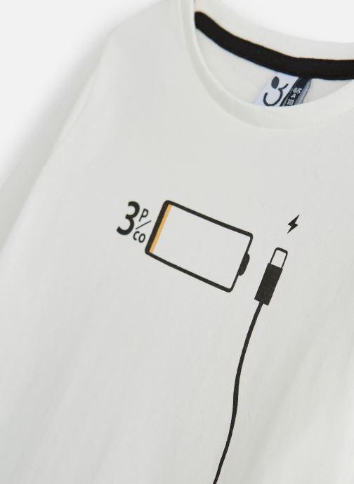 Vêtements 3 Pommes T-Shirt Manches Longues Blanc vue portées chaussures