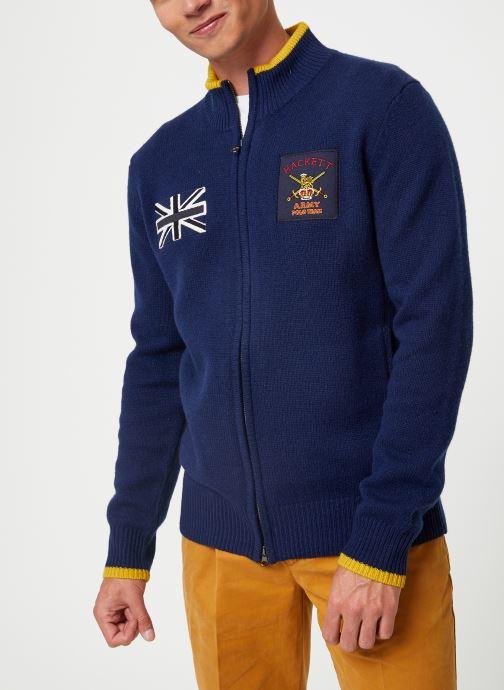 Vêtements Hackett London ARMY POLO FZIP Bleu vue droite