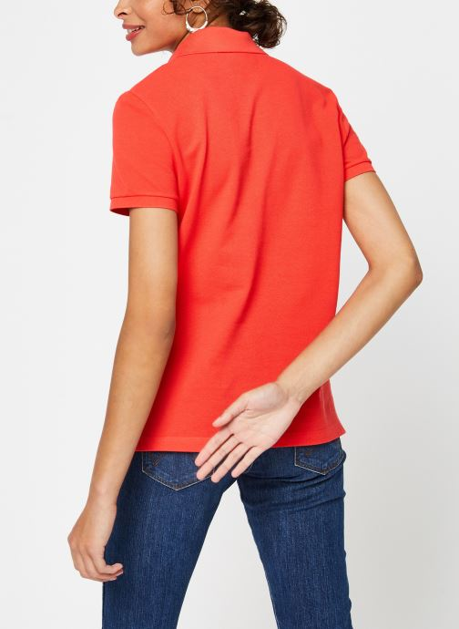 Vêtements Lacoste Polo MC PF7839 Regular Coton Stretch Lacoste Rouge vue portées chaussures