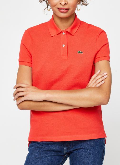 Vêtements Lacoste Polo MC PF7839 Regular Coton Stretch Lacoste Rouge vue droite