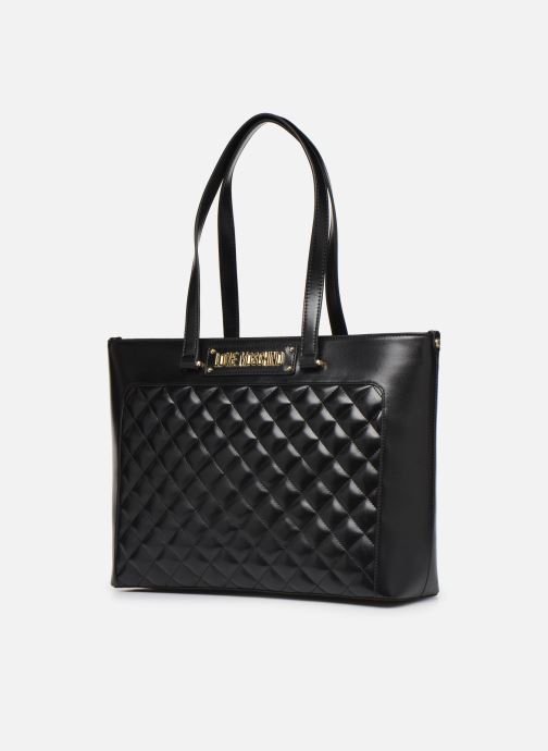 Handbags Love Moschino NEW SHINY QUILTED TOTE ZIP Black model view