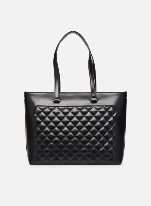 Handbags Love Moschino NEW SHINY QUILTED TOTE ZIP Black front view