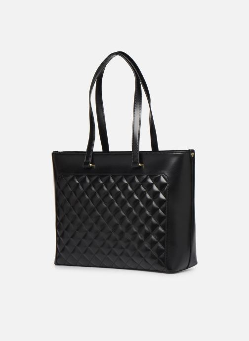 Handbags Love Moschino NEW SHINY QUILTED TOTE ZIP Black view from the right