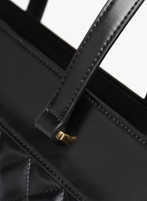 Handbags Love Moschino NEW SHINY QUILTED TOTE ZIP Black view from the left