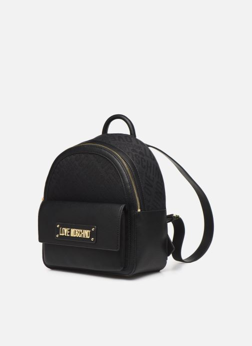Rucksacks Love Moschino NEW LOGO JACQUARD BACKPACK Black model view