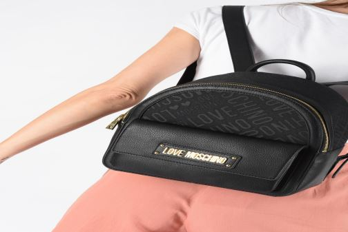 Ryggsäckar Love Moschino NEW LOGO JACQUARD BACKPACK Svart bild från under