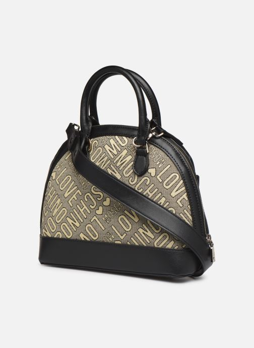 Handbags Love Moschino NEW FUN JACQUARD Bronze and Gold view from the right