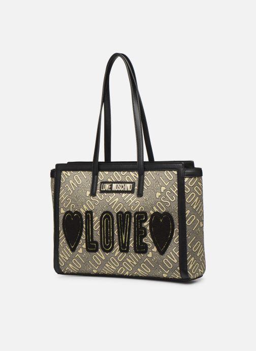 Sacs à main Love Moschino NEW FUN JACQUARD CABAS Or et bronze vue portées chaussures