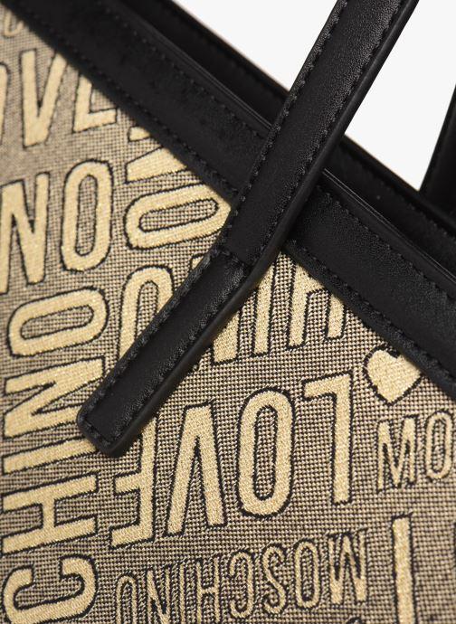 Bolsos de mano Love Moschino NEW FUN JACQUARD CABAS Oro y bronce vista lateral izquierda