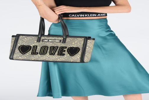 Sacs à main Love Moschino NEW FUN JACQUARD CABAS Or et bronze vue bas / vue portée sac