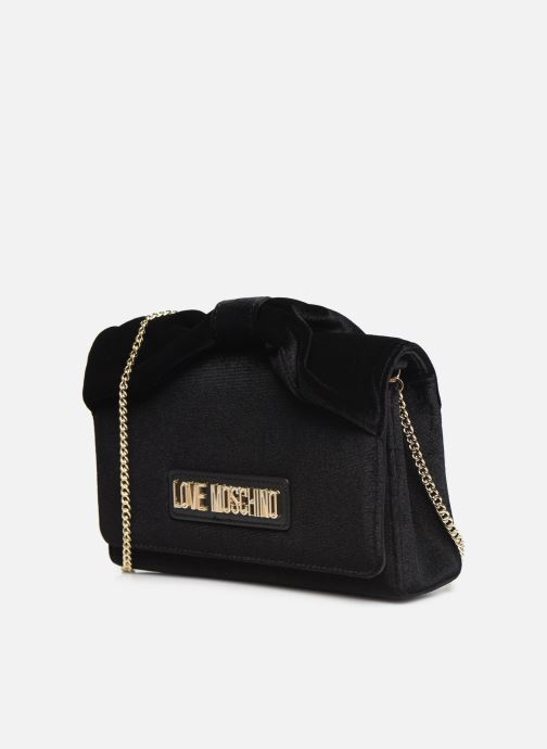 Handbags Love Moschino EVENING BAG VELVET Black model view