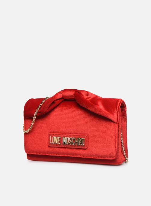 Handbags Love Moschino EVENING BAG VELVET Red model view