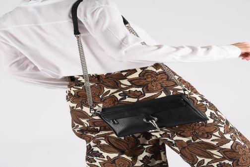 Handbags Rebecca Minkoff MINI MAC PEBBLE  With chain strap Black view from underneath / model view