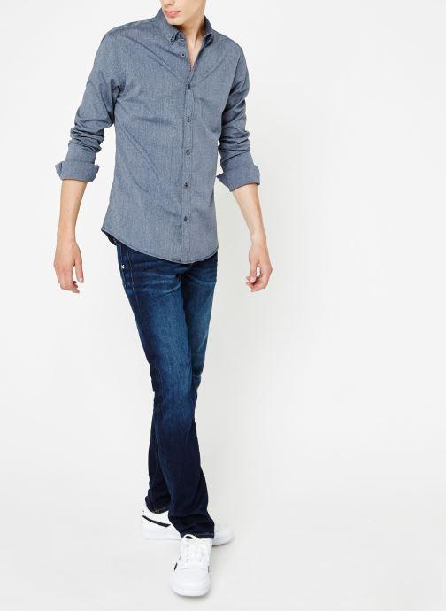 Vêtements Scotch & Soda Blauw oxford shirt in solids, stripe and checks Bleu vue bas / vue portée sac