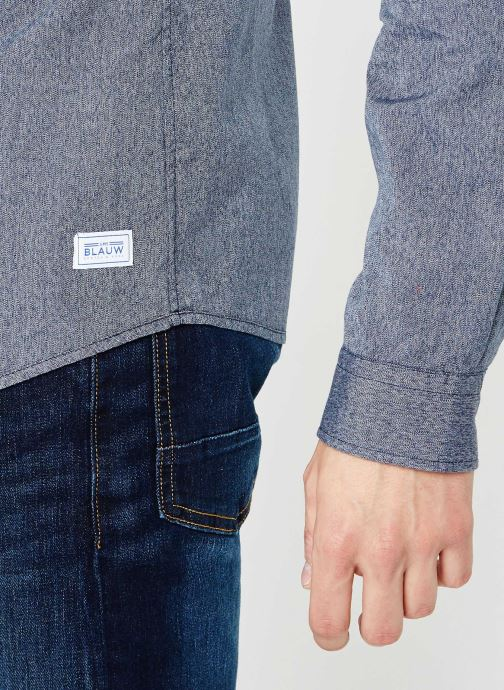 Vêtements Scotch & Soda Blauw oxford shirt in solids, stripe and checks Bleu vue face