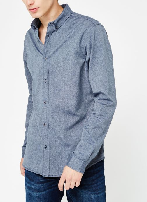 Vêtements Scotch & Soda Blauw oxford shirt in solids, stripe and checks Bleu vue droite