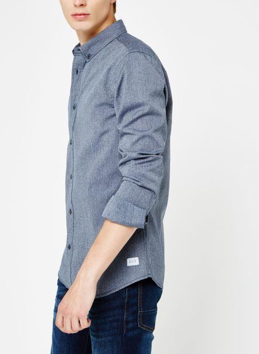 Vêtements Scotch & Soda Blauw oxford shirt in solids, stripe and checks Bleu vue détail/paire