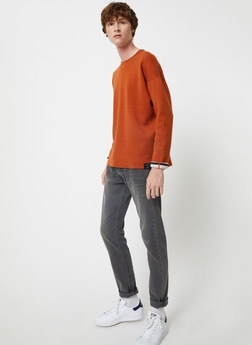 Vêtements Scotch & Soda Reversible crew neck pull in solid combined with stripe Orange vue bas / vue portée sac