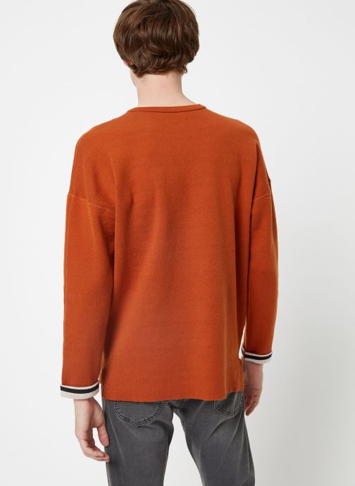 Vêtements Scotch & Soda Reversible crew neck pull in solid combined with stripe Orange vue portées chaussures