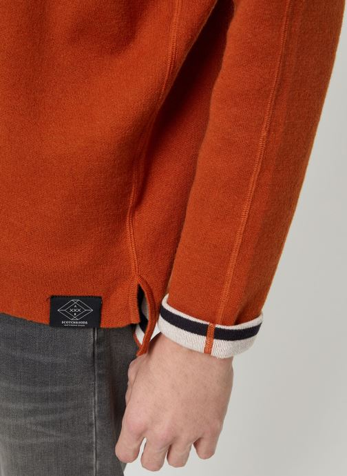 Vêtements Scotch & Soda Reversible crew neck pull in solid combined with stripe Orange vue face
