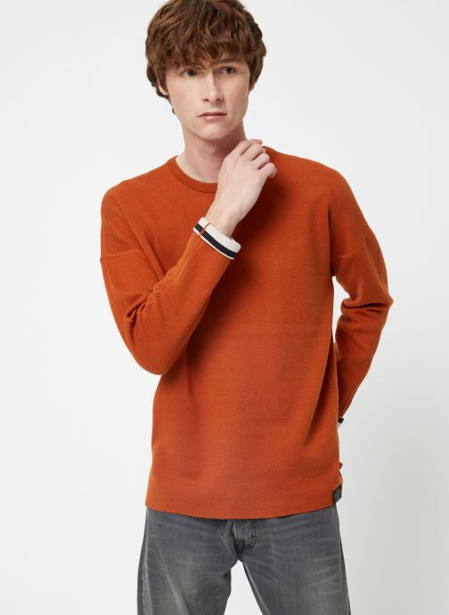 Vêtements Scotch & Soda Reversible crew neck pull in solid combined with stripe Orange vue droite