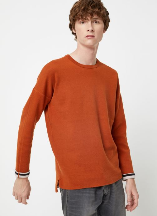 Vêtements Scotch & Soda Reversible crew neck pull in solid combined with stripe Orange vue détail/paire