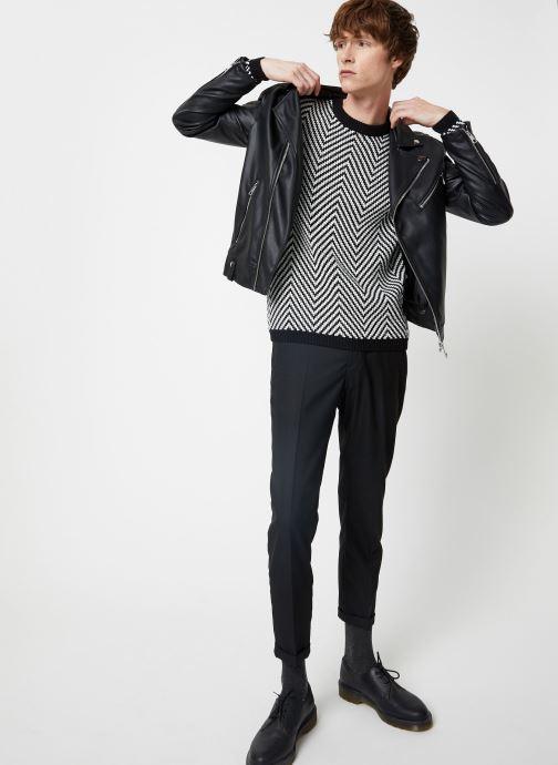 Vêtements Scotch & Soda Crewneck with oversized knit patterns Noir vue bas / vue portée sac