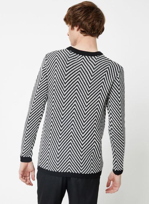 Vêtements Scotch & Soda Crewneck with oversized knit patterns Noir vue portées chaussures