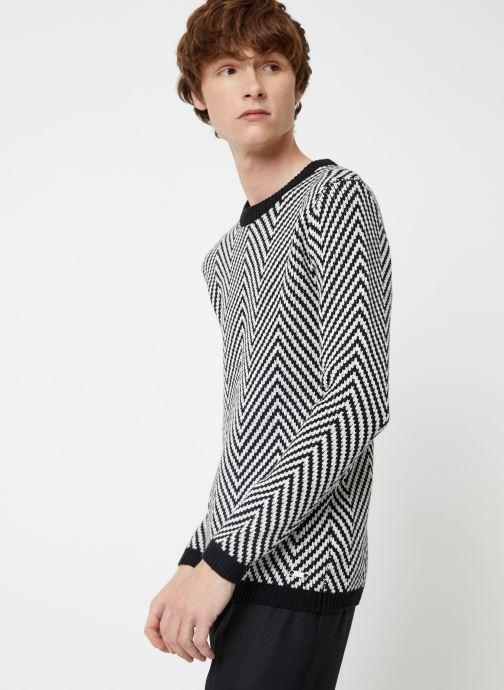 Vêtements Scotch & Soda Crewneck with oversized knit patterns Noir vue droite