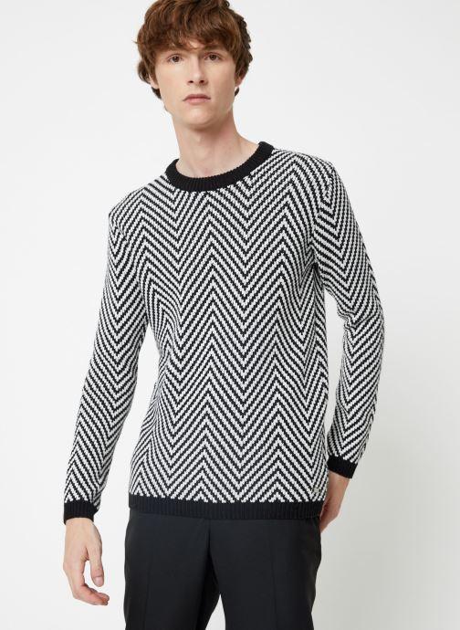 Vêtements Scotch & Soda Crewneck with oversized knit patterns Noir vue détail/paire