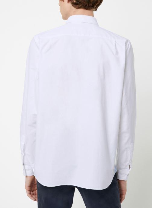 Vêtements Lacoste Chemise Manches Longues Croco Blanc vue portées chaussures
