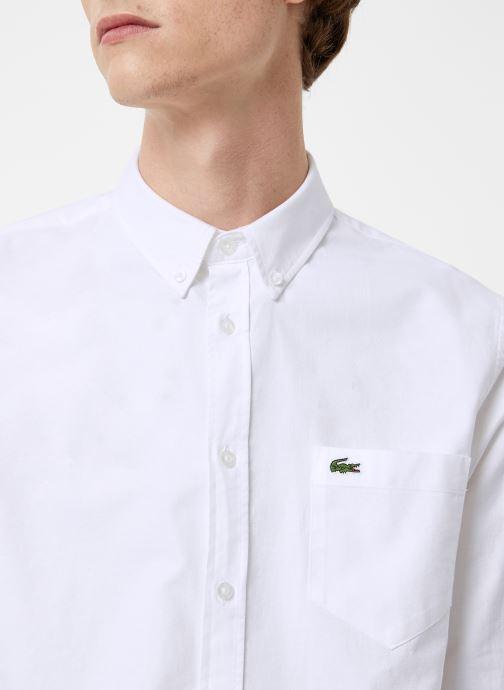 Vêtements Lacoste Chemise Manches Longues Croco Blanc vue face