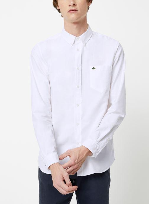 Vêtements Lacoste Chemise Manches Longues Croco Blanc vue droite