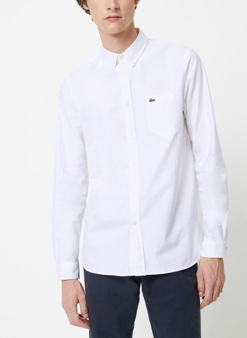 Vêtements Lacoste Chemise Manches Longues Croco Blanc vue détail/paire