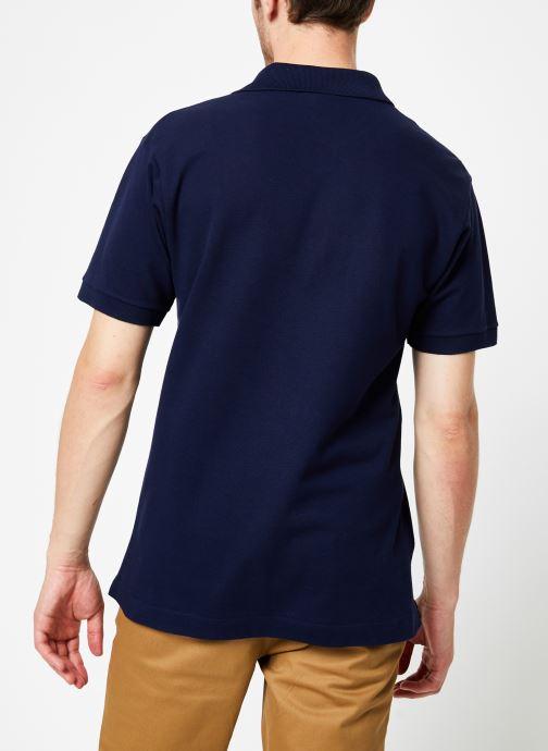Vêtements Lacoste Polo Classique L1212 Manches Courtes Bleu vue portées chaussures