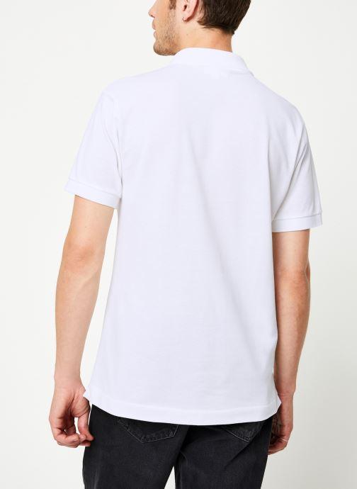Vêtements Lacoste Polo Classique L1212 Manches Courtes Blanc vue portées chaussures