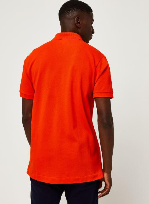 Vêtements Lacoste Polo Classique L1212 Manches Courtes Rouge vue portées chaussures