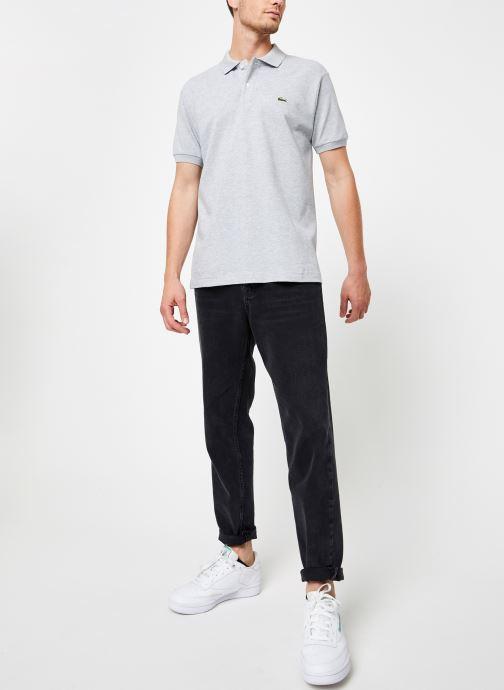 Vêtements Lacoste Polo Chiné Manches Courtes Gris vue bas / vue portée sac