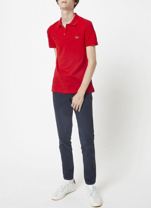 Vêtements Lacoste Polo PH4012 Slim Fit Manches Courtes Rouge vue portées chaussures