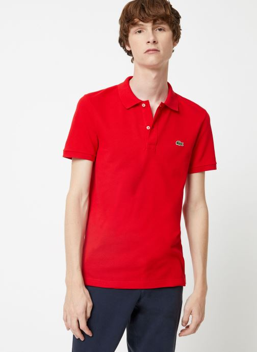 Kleding Lacoste Polo PH4012 Slim Fit Manches Courtes Rood detail
