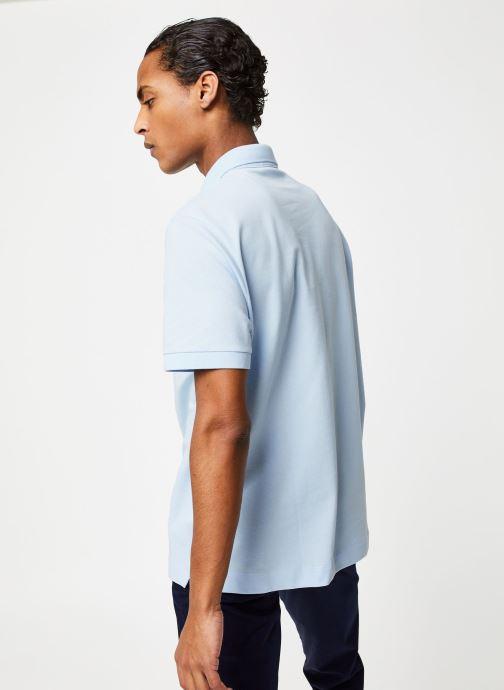 Vêtements Lacoste Polo Regular Fit Manches Courtes Bleu vue portées chaussures