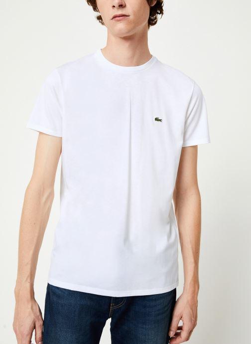 Vêtements Lacoste Tee-Shirt Classique Manches Courtes Blanc vue détail/paire