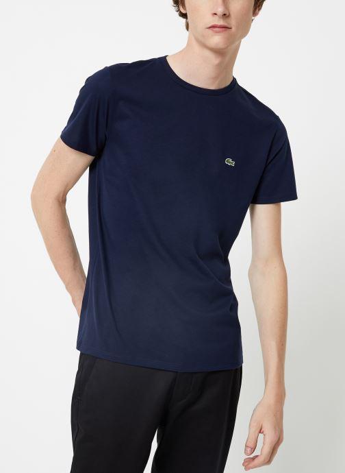 Kleding Lacoste Tee-Shirt Classique MC TH6709 Lacoste Blauw detail