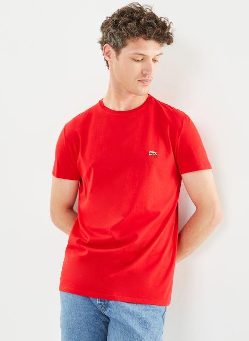 Vêtements Lacoste Tee-Shirt Classique MC TH6709 Lacoste Rouge vue détail/paire