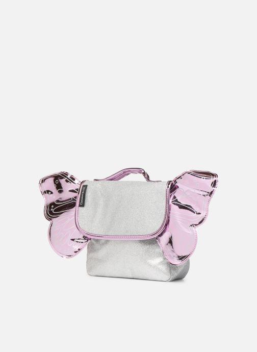 Scolaire Caramel & Cie Mini cartable Papillons Argent vue portées chaussures