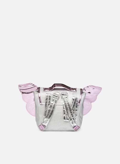 School bags Caramel & Cie Mini cartable Papillons Silver front view