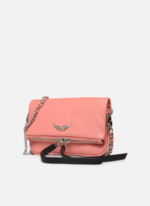 Sacs pochettes Zadig & Voltaire ROCK NANO GRAIN Rose vue portées chaussures
