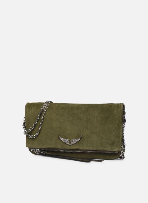 Sacs pochettes Zadig & Voltaire ROCK SUEDE PATE Vert vue portées chaussures